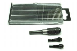 Proops 20 Piece Micro Drill Set, 0.3-1.6mm & Pin Chuck Set +3 Collets 0mm to 2.5mm. M0600